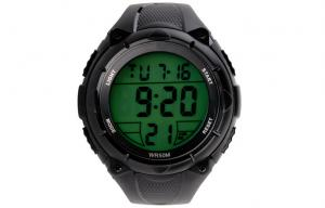 China Unisex Black Multifunction Sport Watch EL Backlight With Stop Watch on sale