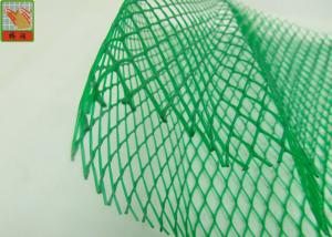 Quality HDPE Diamond Hole Extruded Plastic Netting , Green Protective Plastic Mesh Sleeve for sale