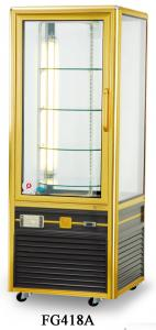 China 418L Single Temperature Refrigerated Cake Display Cabinets All - Sides Tempered Glass Aluminium Frame on sale