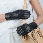 女性100%の実質の羊皮の皮手袋、ラインが付いている3 5つの指の手袋