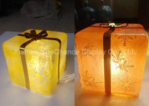 China Compact Transparent Decoration Yellow Resin Christmas Gift Box With Light Inside on sale