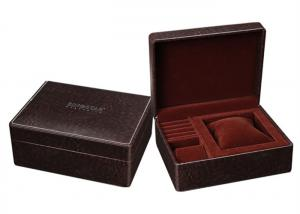 China Brown Small Leather Small Jewelry Box , High End Style Rectangle Jewelry Gift Boxes on sale