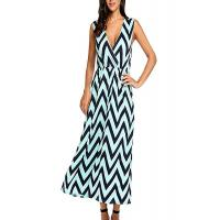 Zig Zag Summer Holiday Maxi Dresses ,Elastic Waist Maxi Dresses For Short Ladies