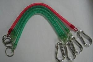 China Custom Silver Carabiner and Split Key Ring Attached Good Elastic Coil Chains on sale