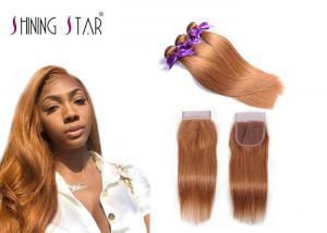 China Gold Blonde Malaysian Hair Bundles Straight With Lace Closure No Shedding on sale