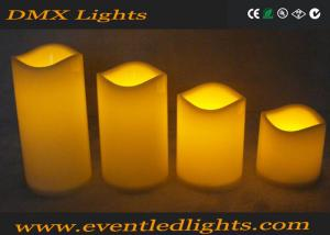 China Moving Wick Flickering Led Candles , Yellow / White Led Votive Candles on sale