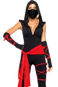 China Hero Costumes Wholesale Spandex Black Sexy Ninja Costume with size S to XXL on sale