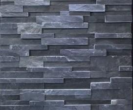 China Decorative Black Slate Culture Stone , Stacked Wall Cladding Stone on sale