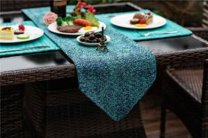 China 100% PP Raffia,microfiber,Navy blue,navy,gold,light blue,Modern Merry Christmas Tablecloth And Runners Sets on sale