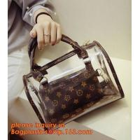 travel stand up zipper pvc leather cosmetic pouch lady bag woman make up, mini Jelly Candy Bag, PVC Fashion Women Hand C