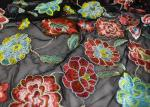 Rich Floral Embroidered Mesh Fabric For Dresses , Vintage Heavy Lace Fabric