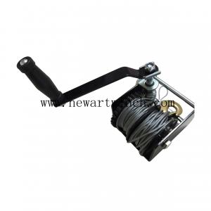 China 680kg Black Power Coated Worm Hand Winch , Two Cables Worm Gear Boat Winch on sale