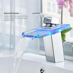 China Bathroom LED Light Basin Faucet 3 Colors Waterfall Glass Spout Sink Faucet,Cold and Hot Water Mixer Tap on sale