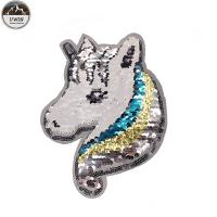 China Delicate Reverse Sequin Unicorn Patch Handmade Pin Backing Any Size Available on sale