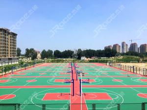 China Full Silicone Material Tennis Sport Court Flooring In Blue Color All Weather Resistance on sale