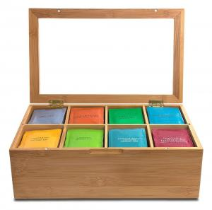 China trend selling bamboo tea bag organizer tea boxes for sale with detachable divider on sale