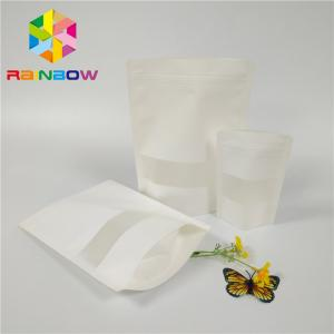 China Matt White Plastic Pouches Packaging Doypack Poly Zip Lock Stand Up Pouch Rectangle Window on sale