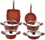 stainless steel lid red stone aluminum color cookware set 10 pcs FDA approval