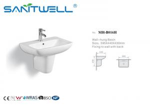 China Bathroom Wall Hung Basin White Standing Ceramic Half Semi Pedestal Sink on sale