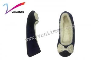 China Cloth Art Sweet Bowknot Pearl House Slipper Shoes / Household Slippers Anti Skid on sale