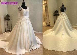 China Elegant Lace Voile Bridal Ball Gowns With Long Sleeves Satin Zipper Back Design on sale