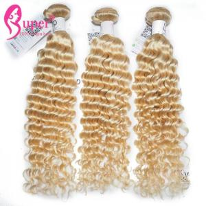 China Smooth Blonde Ombre Human Hair Extensions Curly Remy Human Hair Weave on sale