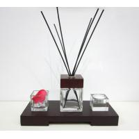 China 80ml Decorative Square Glass Room Fragrance Reed Oil Diffuser in Wooden Tray TS-RD01 on sale