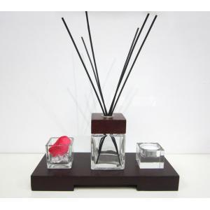 China difusor de vidro quadrado decorativo do óleo de Reed da fragrância da sala 80ml na bandeja de madeira TS-RD01 on sale