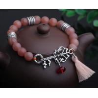Sunstone gemstone beaded bracelets, key charm tassel bracelets