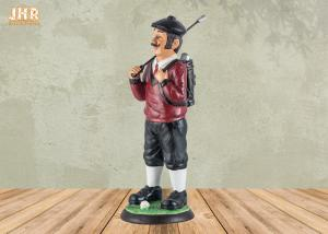 China Small Golfer Tabletop Statue Polyresin Statue Figurine Antique Resin Sculpture Figures on sale