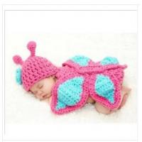 handmade pink butterfly  Baby Photography Prop  Crochet Hats  Crochet Knitted costume set