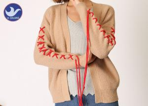 China Spring / Autumn Womens Long Sleeve Cardigan Sweater Ribs Knitting on sale