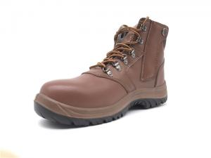 China Hidden Zipper Steel Toe Work Boots Embossed Mens Leather Work Boots Waterproof on sale