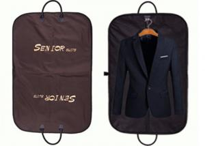 China Non Woven Brown Oxford Suit Garment Bags Waterproof With Leather Handles on sale