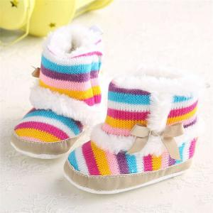 China In stock New designed Cotton Snowflake toddler Warm infant baby shoes on sale