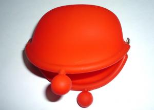 Quality Red Rubber Girls silicone coin Purses and Pouches / Change Walletduct 95*92*45mm for sale