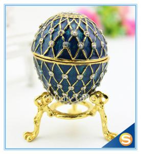 China Handmade Enamel metal decorative egg boxes with diamond on sale