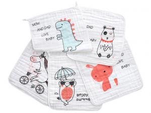 China Square Face Organic Cotton Muslin Washing Cloth With Print In 6 Layers on sale