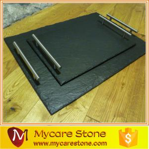 China customized design black slate cheese board for food on sale