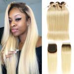 1b/613 Brazilian Straight Hair Weave Bundles With Closure Golden Brazilian Hair