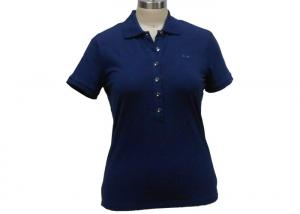 China Solid Color Womens Uniform Polo Shirts , Women'S Short Sleeve Button Down Collar Shirts on sale