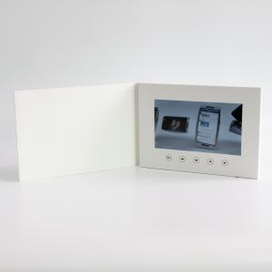 China Customized printing 7 inch lcd screen video brochure for advertising White card blank card 2GB memory 1000mAh on sale