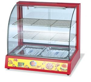 China Electric Food Warmer Display Case Curved Glass Two Shelves Bain Marie Display Counter on sale