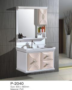 China White Small Hanging Bathroom Cabinets One Piece Mirror Ceramic Basin Soft Close on sale