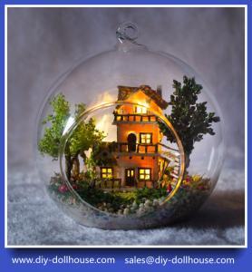 China Diy wooden dollhouse mini glass dollhouse miniature room box model building cottage G016 on sale