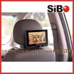 Tela da propaganda do toque da cabeceira do táxi com sistema de gestão satisfeito