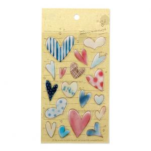 China Heart Love 3D Resin Stickers 18 pcs Colorful Stationery Playing Creative Beautiful Epoxy Stickers on sale