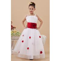 China Chic Floor Length Organza White Flower Girl Ball Gown , Spaghetti Staps Ruffle Party Dresses on sale