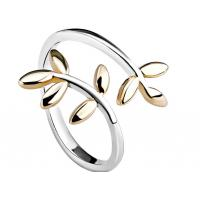 Minimalist Adjustable Finger Double Leaf Ring With Laurel Shape , Personized Logo