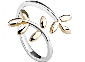 China Minimalist Adjustable Finger Double Leaf Ring With Laurel Shape , Personized Logo on sale